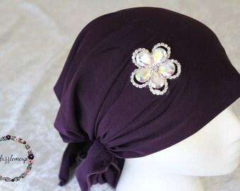 Purple Head Wrap - Womens Band - Embellished Hair Wrap - Thick Headband -Purple Turban- Head Covering - Embellished Turban - Hair Accesories