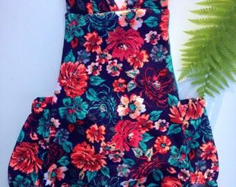 6-9 months Handmade Bubble romper Bright floral bodysuit playsuit