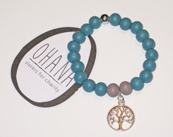 Tree of life bracelet in Petrol-Silver-grey