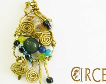 Brass pendant with mother of Pearl and stone-contemporary jewellery