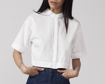 white mandarin collar top
