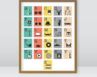 ABCs, alphabet, hipster icons, 9x12 instant original art, download