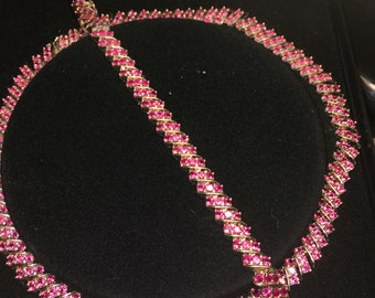 Synthetic pink Saphire necklace and bracelet