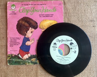 Vintage Children's Record and Book Set, If You're Happy and You Know it Clap Your Hands, Children's Records, 45 RPM, #1520, 1980