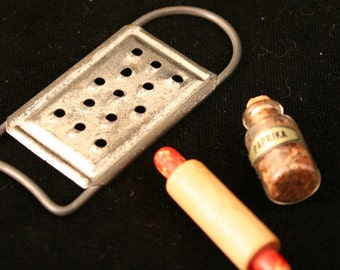 Miniature Rolling Pin, Grater, and Spice Jar