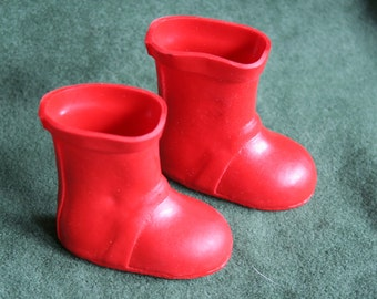 Doll Boots, Red Rubber,  2.25-Inches Long and 2.25-Inches Tall