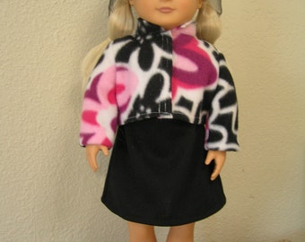 Three-piece Fleece Jacket and Hat with Knit Dress Set for American Girl and Other 18-inch Dolls