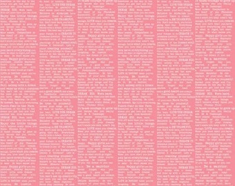 BTHY - The Cottage Garden by The Quilted Fish for Riley Blake Designs, Pattern #C4224 - Pink Newsprint, White Text in Columns on Pink