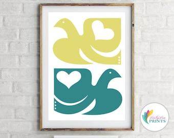 Scandi birds Print - Green Kitchen Print, Teal & Lime Skandinavian Style Print