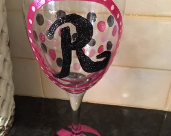 Hand Painted Intial Wine Glass