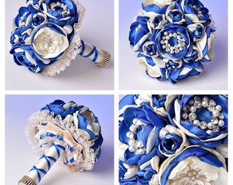 Ready to Ship,Brooch Bouquet, Bridal Bouquet, Wedding Bouquet, Blue Ivory brooch bouquet, Brocheboeket