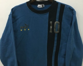 Vintage 90's Puma Number 10 Design Skate Sweat Shirt Sweater Varsity Jacket Size M #A8