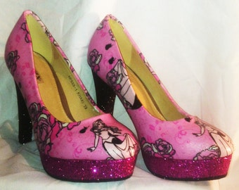 Disneys sleeping beauty / aurora heels * * * uk sizes 3-8 * * *