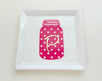 Monogram Trinket Dish//Personalized Trinket Tray//Preppy Gift//Custom Gift//Mason Jar Trinket Tray