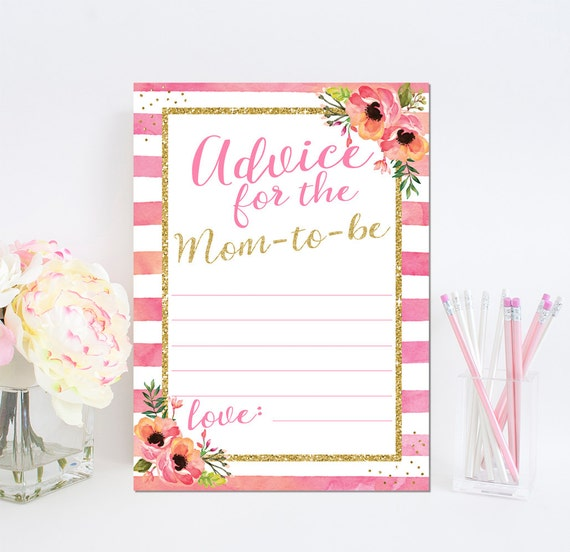 Floral Watercolor Pink & Gold Glitter Baby Shower Advice Card Printable - Printable Baby Shower Advice for Mom to be