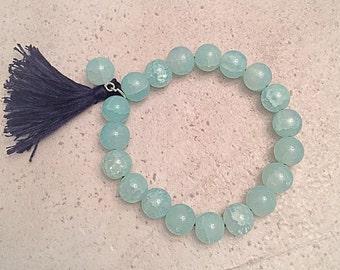 Mint Beaded Bracelet w/Tassel