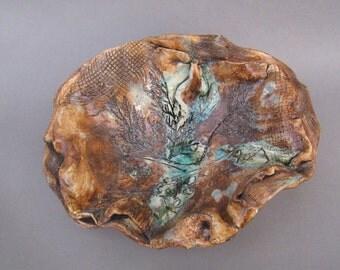 Ceramic Vase, Fruit vase, Ceramic Bowl, Brown Green vase, Sculptural vase, Nature ceramic, Centerpiece,  Leaf vase with recycled glass