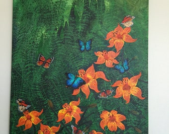Tiger Lilies and Butterflies