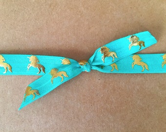 Unicorn top knot headband, teal and gold top knot headband, dark aqua headband, gold foil, top knot elastic headband, teal and gold unicorn