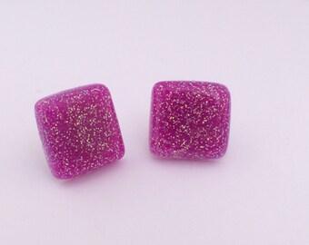 Glitter Resin Post Earrings