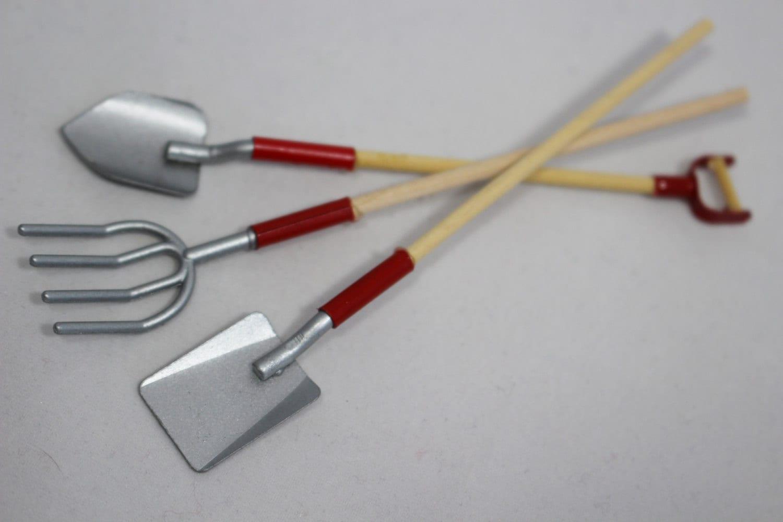 Miniature garden tools shovel pitchfork garden accessories for Garden tools accessories