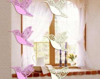 Bird hanging ornaments 12 per Pack, Multiple Colors, Paper Crafted Birds