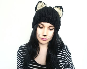 cat ears, cat beanie, black cat, hat with ears, winter beanie, cat costume hat, photo prop, cat hat