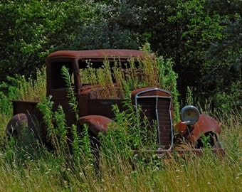 Retired - country photograph - rusty truck rustic decor wall art photo auto travel