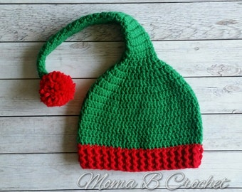 Crochet Elf Hat, Christmas Elf Hat, Elf Hat, Elf Photo Prop Hat, Baby Elf Hat, Child Elf Hat, Adult Elf Hat
