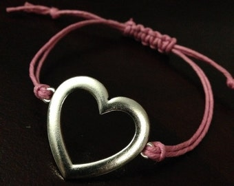 silver and lilac heart bracelet
