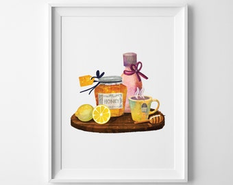 Watercolor Honey - Printable Wall Art - Food