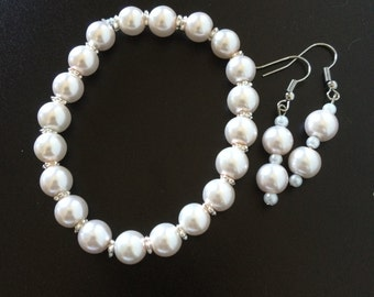 Glass Beads Bracelet and Earrings Set (Bridal Patriotic B&W Colorful)