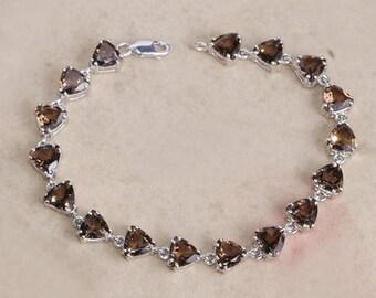 Sterling silver smoky topaz bracelet