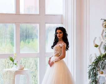 Wedding Dress Laura, Long Sleeve Wedding Dress, Lace Wedding Gown, Princess Wedding Dress, Boho Wedding, Romantic Gown