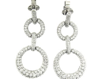 3.20 Ct White Diamond Graduated Hanging Drop Fashion Earrings 18 KT