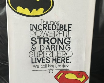 Superhero themed Father's Day canvas