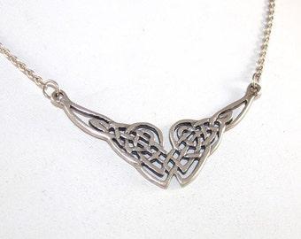 """Sterling Silver Celtic Love Knot Pendant Vintage Adjustable Necklace 17"""""""