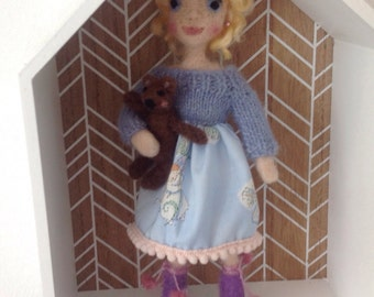 One of a kind Needlefelted blonde girl with teddy.
