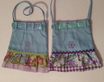 Girls Skirt Purse, Ruffled Purse, Embroidered Purse