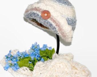 Crochet Cloche Hat and Scarf, Knit Hat, Woman Accessories, Ladies Hat, Crochet Winter Hat, Crochet Scarf, Knit Scarf BLUE WHITE CLOCHE