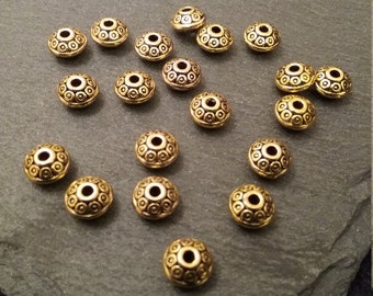 20 Antique Gold Tone 6.5mm Flying Saucer Shaped Spacer Beads