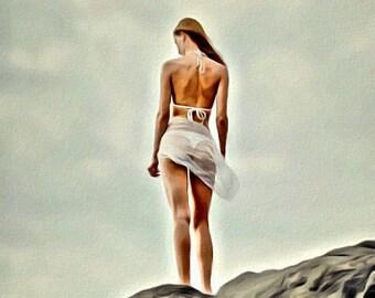 Bikini Beach Bum White - Print or Canvas
