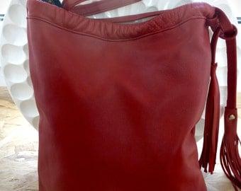 Red lambskin leather shoulder bag