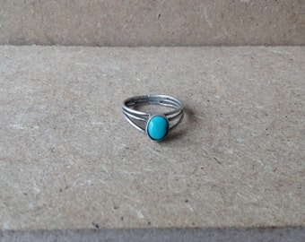 Native American Sterling & Tuquoise Sz 6.5 Ring True Vintage Silver