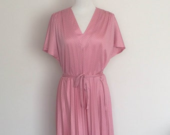 1980s Pink Styled By David Tosol Fashions Spotted Dress Vintage