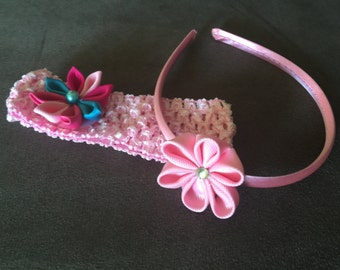 Lot of 2 hairband pink and multicolor