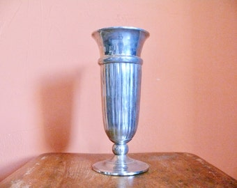 Silver Plated Urn Style Vase, Ribbed Detail, Rustic Tarnished, Mid Century Hollywood Regency