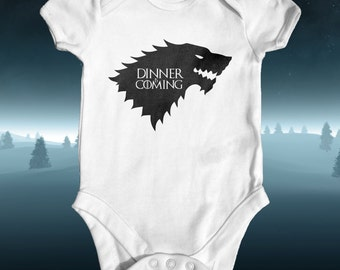 Dinner is Coming Game of Thrones Parody Baby Bodysuit | Baby Shower Gift | Cute Baby Clothes | Funny Baby Bodysuit | House Stark