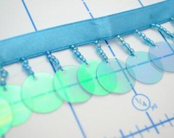 Turquoise Beaded Iridescent Sequin Hanging Fringe Trim