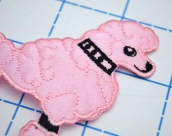 2 Pink Poodle Applique Patches